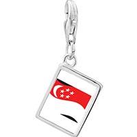 Link Charm Bracelet - 925  sterling silver singapore flag photo rectangle frame link charm Image.