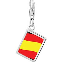 Link Charm Bracelet - 925  sterling silver spain flag photo rectangle frame link charm Image.