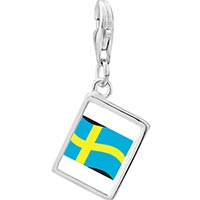 Link Charm Bracelet - 925  sterling silver sweden flag photo rectangle frame link charm Image.