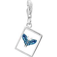 Link Charm Bracelet - 925  sterling silver shades of blue butterfly photo rectangle frame link charm Image.