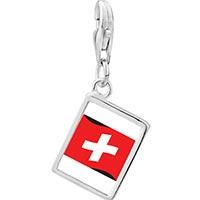 Link Charm Bracelet - 925  sterling silver switzerland flag photo rectangle frame link charm Image.