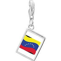 Link Charm Bracelet - 925  sterling silver venezuela flag photo rectangle frame link charm Image.