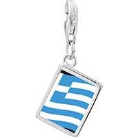 Link Charm Bracelet - 925  sterling silver greece flagphoto rectangle frame link charm Image.