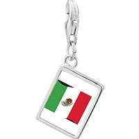 Link Charm Bracelet - 925  sterling silver mexico flag photo rectangle frame link charm Image.