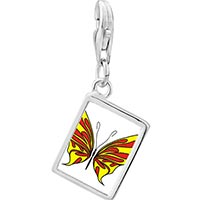 Link Charm Bracelet - 925  sterling silver yellow and red butterfly photo rectangle frame link charm Image.