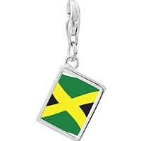 Link Charm Bracelet - 925  sterling silver jamaica flag photo rectangle frame link charm Image.