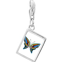 Link Charm Bracelet - 925  sterling silver exotic blue yellow &  red butterfly photo rectangle frame link charm Image.