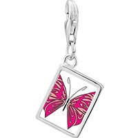 Link Charm Bracelet - 925  sterling silver shades of pink butterfly photo rectangle frame link charm Image.