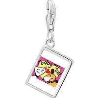 Link Charm Bracelet - 925  sterling silver my dog loves my cat photo rectangle frame link charm Image.