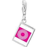 Link Charm Bracelet - 925  sterling silver circle of pink ribbons photo rectangle frame link charm Image.