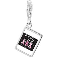 Link Charm Bracelet - 925  sterling silver family pink ribbon photo rectangle frame link charm Image.