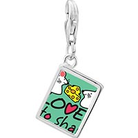 Link Charm Bracelet - 925  sterling silver love is to share cute rat photo rectangle frame link charm Image.