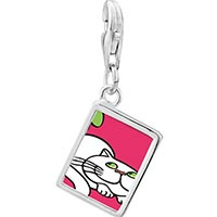 Link Charm Bracelet - 925  sterling silver persian cat photo rectangle frame link charm Image.