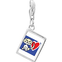 Link Charm Bracelet - 925  sterling silver scottish fold cat photo rectangle frame link charm Image.