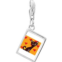 Link Charm Bracelet - 925  sterling silver havana brown cat photo rectangle frame link charm Image.