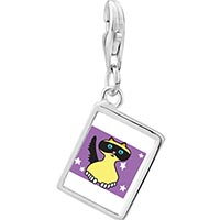 Link Charm Bracelet - 925  sterling silver birman cat photo rectangle frame link charm Image.
