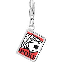 Link Charm Bracelet - 925  sterling silver i love poker photo rectangle frame link charm Image.