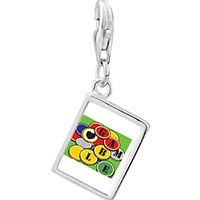 Link Charm Bracelet - 925  sterling silver love to gamble photo rectangle frame link charm Image.