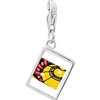 Link Charm Bracelet - 925  sterling silver roulette wheel photo rectangle frame link charm Image.