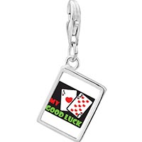 Link Charm Bracelet - 925  sterling silver my good luck photo rectangle frame link charm Image.