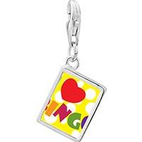 Link Charm Bracelet - 925  sterling silver i love bingo photo rectangle frame link charm Image.