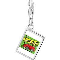 Link Charm Bracelet - 925  sterling silver look out!  photo rectangle frame link charm Image.