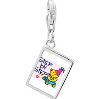 Link Charm Bracelet - 925  sterling silver step by step baby photo rectangle frame link charm Image.