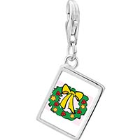 Link Charm Bracelet - 925  sterling silver christmas wreath photo rectangle frame link charm Image.