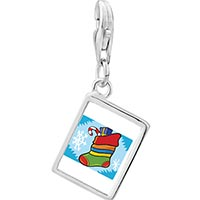 Link Charm Bracelet - 925  sterling silver christmas stocking snow photo rectangle frame link charm Image.