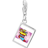 Link Charm Bracelet - 925  sterling silver candy christmas stocking photo rectangle frame link charm Image.