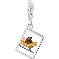 Link Charm Bracelet - 925  sterling silver christmas sled photo rectangle frame link charm Image.