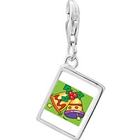 Link Charm Bracelet - 925  sterling silver yellow christmas bells photo rectangle frame link charm Image.