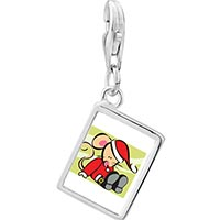 Link Charm Bracelet - 925  sterling silver christmas santa mouse photo rectangle frame link charm Image.