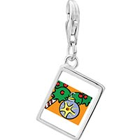 Link Charm Bracelet - 925  sterling silver christmas ornament photo rectangle frame link charm Image.
