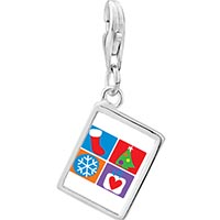 Link Charm Bracelet - 925  sterling silver various christmas decorations photo rectangle frame link charm Image.