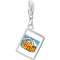Link Charm Bracelet - 925  sterling silver gingerbread christmas house photo rectangle frame link charm Image.