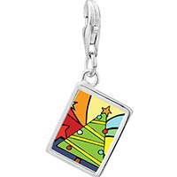 Link Charm Bracelet - 925  sterling silver christmas tree rainbow photo rectangle frame link charm Image.