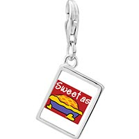 Link Charm Bracelet - 925  sterling silver sweet as pie photo rectangle frame link charm Image.