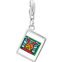 Link Charm Bracelet - 925  sterling silver christmas fireplace photo rectangle frame link charm Image.