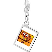Link Charm Bracelet - 925  sterling silver large eyed comic badger photo rectangle frame link charm Image.