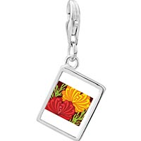 Link Charm Bracelet - 925  sterling silver underwater yellow and red flowers photo rectangle frame link charm Image.