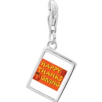 Link Charm Bracelet - 925  sterling silver happy thanksgiving photo rectangle frame link charm Image.