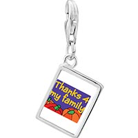 Link Charm Bracelet - 925  sterling silver thanks 4  my family photo rectangle frame link charm Image.