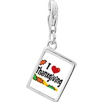 Link Charm Bracelet - 925  sterling silver i love thanksgiving photo rectangle frame link charm Image.