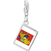 Link Charm Bracelet - 925  sterling silver thanksgiving food basket photo rectangle frame link charm Image.