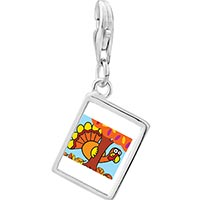 Link Charm Bracelet - 925  sterling silver hiding thanksgiving turkey photo rectangle frame link charm Image.