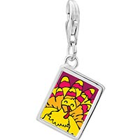 Link Charm Bracelet - 925  sterling silver bright yellow turkey photo rectangle frame link charm Image.