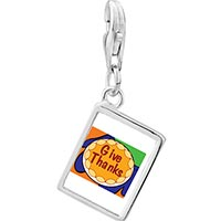 Link Charm Bracelet - 925  sterling silver give thanks in thanksgiving photo rectangle frame link charm Image.