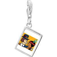 Link Charm Bracelet - 925  sterling silver thanksgiving pilgrim indian couple photo rectangle frame link charm Image.