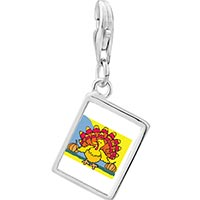 Link Charm Bracelet - 925  sterling silver colorful autumn turkey photo rectangle frame link charm Image.